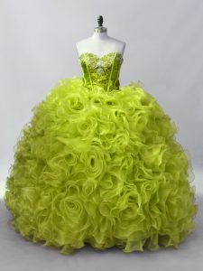 Fashion Sleeveless Lace Up Floor Length Ruffles and Sequins Sweet 16 Dress