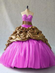 Lilac Sleeveless Brush Train Beading and Pick Ups 15th Birthday Dress