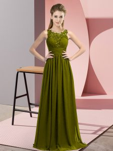 Elegant Olive Green Sleeveless Chiffon Zipper Quinceanera Court of Honor Dress for Wedding Party