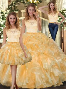 Gold Sleeveless Floor Length Lace and Ruffles Clasp Handle 15th Birthday Dress