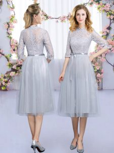 Grey Empire High-neck Half Sleeves Tulle Tea Length Zipper Lace and Belt Quinceanera Dama Dress