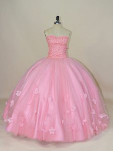 Sweet Ball Gowns Sweet 16 Dress Baby Pink Sweetheart Tulle Sleeveless Floor Length Lace Up