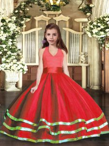 Red Tulle Lace Up Halter Top Sleeveless Floor Length Child Pageant Dress Ruffled Layers
