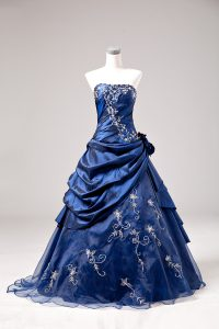 Chic Floor Length Ball Gowns Sleeveless Blue Quinceanera Dresses Lace Up