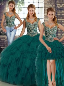 Peacock Green Sleeveless Organza Lace Up Ball Gown Prom Dress for Military Ball and Sweet 16 and Quinceanera