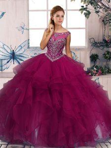Noble Sleeveless Floor Length Beading and Ruffles Zipper Sweet 16 Quinceanera Dress with Fuchsia