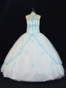 Cheap Ball Gowns Ball Gown Prom Dress Blue And White Halter Top Tulle Sleeveless Floor Length Lace Up