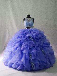 Lavender Zipper Scoop Ruffles and Sequins 15 Quinceanera Dress Organza Sleeveless Brush Train