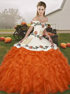 Off The Shoulder Sleeveless Quinceanera Dresses Floor Length Embroidery and Ruffles Orange Red Organza