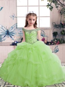 Tulle Scoop Sleeveless Lace Up Beading and Ruffles Little Girl Pageant Gowns in Yellow Green