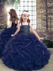 Artistic Floor Length Navy Blue Kids Pageant Dress Tulle Sleeveless Beading and Ruffles