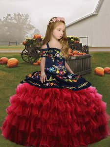 Embroidery Little Girl Pageant Dress Red Lace Up Sleeveless Floor Length