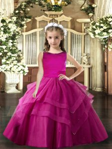 Hot Sale Scoop Sleeveless Lace Up Pageant Dress for Womens Fuchsia Tulle