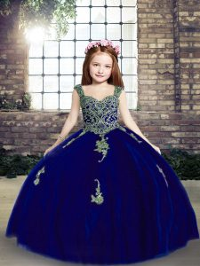 Best Royal Blue Lace Up Little Girl Pageant Dress Appliques Sleeveless Floor Length