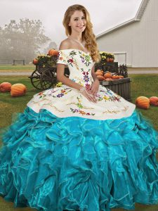 Vintage Aqua Blue Ball Gowns Off The Shoulder Sleeveless Organza Floor Length Lace Up Embroidery and Ruffles Ball Gown Prom Dress