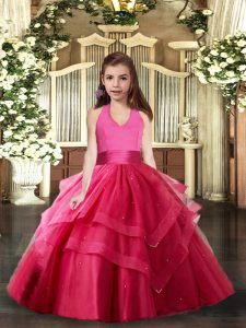 Hot Pink Little Girls Pageant Gowns Party and Sweet 16 and Wedding Party with Ruffled Layers Halter Top Sleeveless Lace Up