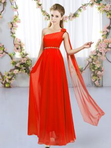 Red Chiffon Lace Up Dama Dress Sleeveless Floor Length Beading and Hand Made Flower