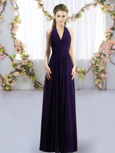 Dark Purple Zipper Court Dresses for Sweet 16 Ruching Sleeveless Floor Length