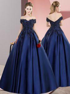 Navy Blue A-line Satin Off The Shoulder Sleeveless Lace Floor Length Zipper Sweet 16 Dress