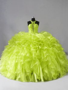 Perfect Organza Halter Top Sleeveless Brush Train Zipper Beading and Ruffles Quinceanera Gown in Yellow Green