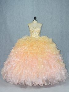 Popular Multi-color Lace Up Sweetheart Beading and Ruffles Vestidos de Quinceanera Organza Sleeveless