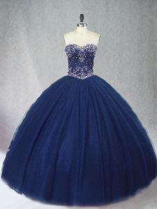 Excellent Navy Blue Tulle Lace Up Sweetheart Sleeveless Floor Length 15th Birthday Dress Beading