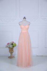 Nice Floor Length Empire Sleeveless Peach Damas Dress Zipper