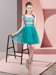 Turquoise Tulle Zipper Vestidos de Damas Sleeveless Mini Length Lace