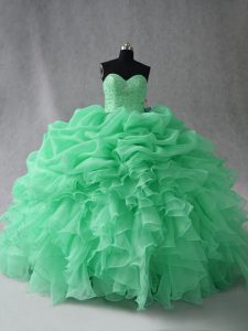 Pretty Apple Green Ball Gowns Beading and Ruffles and Pick Ups Quince Ball Gowns Lace Up Organza Sleeveless Floor Length