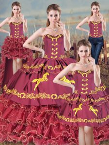 Burgundy Lace Up 15th Birthday Dress Embroidery and Ruffles Sleeveless Brush Train