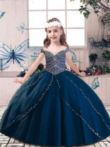 Perfect Floor Length Navy Blue Little Girl Pageant Gowns Tulle Sleeveless Beading