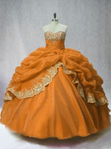 Sweetheart Sleeveless Quinceanera Dresses Floor Length Beading and Appliques and Pick Ups Brown Organza