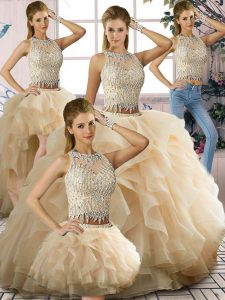 Romantic Tulle Scoop Sleeveless Zipper Beading and Ruffles Quinceanera Dress in Champagne