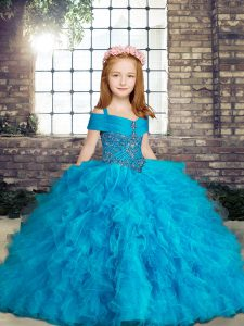Tulle Straps Sleeveless Lace Up Beading and Ruffles Girls Pageant Dresses in Baby Blue