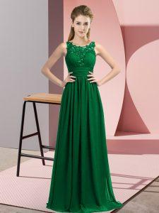 Comfortable Floor Length Empire Sleeveless Dark Green Quinceanera Dama Dress Zipper