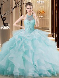 Light Blue Halter Top Neckline Embroidery and Ruffles Vestidos de Quinceanera Sleeveless Lace Up