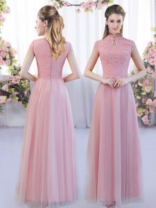 Customized High-neck Cap Sleeves Zipper Quinceanera Court of Honor Dress Pink Tulle