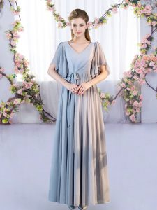 Pretty V-neck Short Sleeves Lace Up Quinceanera Court Dresses Grey Chiffon