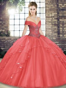 Watermelon Red Ball Gowns Off The Shoulder Sleeveless Tulle Floor Length Lace Up Beading and Ruffles Quinceanera Dress