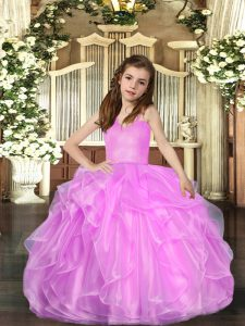 Best Floor Length Lace Up Pageant Dress for Teens Lilac for Party and Sweet 16 and Wedding Party with Ruffled Layers