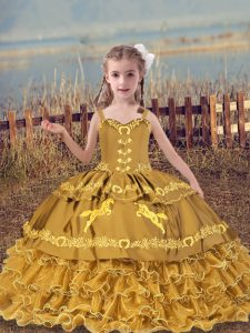 Gold Lace Up Straps Beading and Embroidery and Ruffled Layers Child Pageant Dress Organza Sleeveless