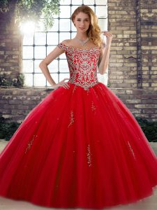 Sumptuous Sleeveless Floor Length Beading Lace Up Sweet 16 Dresses with Red