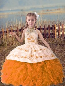 Delicate Orange Red Organza Lace Up Halter Top Sleeveless Floor Length Child Pageant Dress Beading and Embroidery and Ruffles