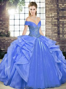 Fancy Blue Off The Shoulder Neckline Beading and Ruffles Sweet 16 Dress Sleeveless Lace Up