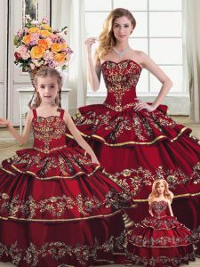 b652b31f7a Stylish Sleeveless Floor Length Embroidery and Ruffled Layers Lace Up Sweet  16 Dresses with Wine Red