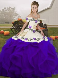 Amazing White And Purple Tulle Lace Up Vestidos de Quinceanera Sleeveless Floor Length Embroidery and Ruffles