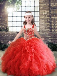 Decent Floor Length Lace Up Little Girl Pageant Dress Red for Party and Wedding Party with Beading and Ruffles