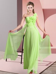 Cheap One Shoulder Sleeveless Lace Up Quinceanera Court of Honor Dress Yellow Green Chiffon