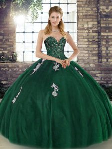 Sweetheart Sleeveless Ball Gown Prom Dress Floor Length Beading and Appliques Green Tulle