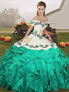 Turquoise Lace Up Off The Shoulder Embroidery and Ruffles Quinceanera Dresses Organza Sleeveless